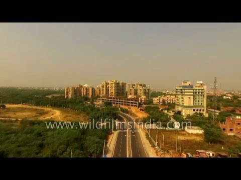 Okhla to the south of Delhi and Faridabad city: aerial footage