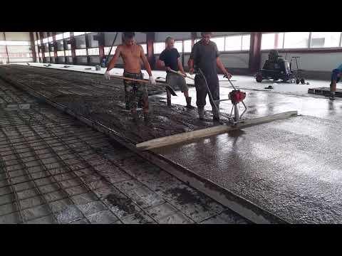 Виброрейка по бетону, как работает.