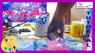 Pintura espontanea y fluida en acrílico tutorial. Técnic action paiting - Pollock
