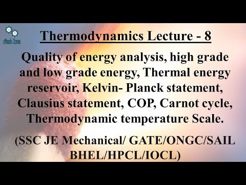 Thermodynamics Lecture 8: Kelvin and Clausius statement, Energy quality and COP