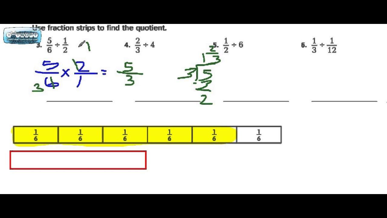 Model Fraction Division 2.5 Go Math Grade 6 - YouTube