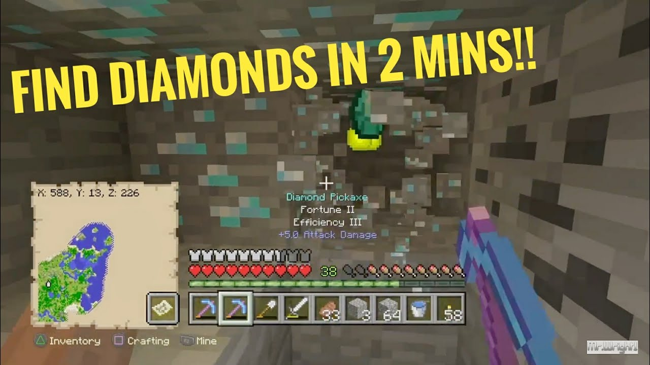How To Find Diamonds In 2 Mins Or Less Minecraft Ps4 Xbox Or Pc Youtube