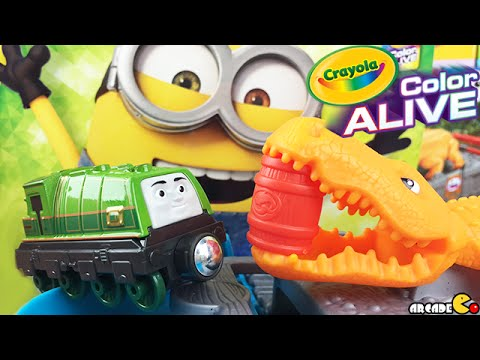 despicable me minions crayola color alive thomas friends gators chase chomp unboxing
