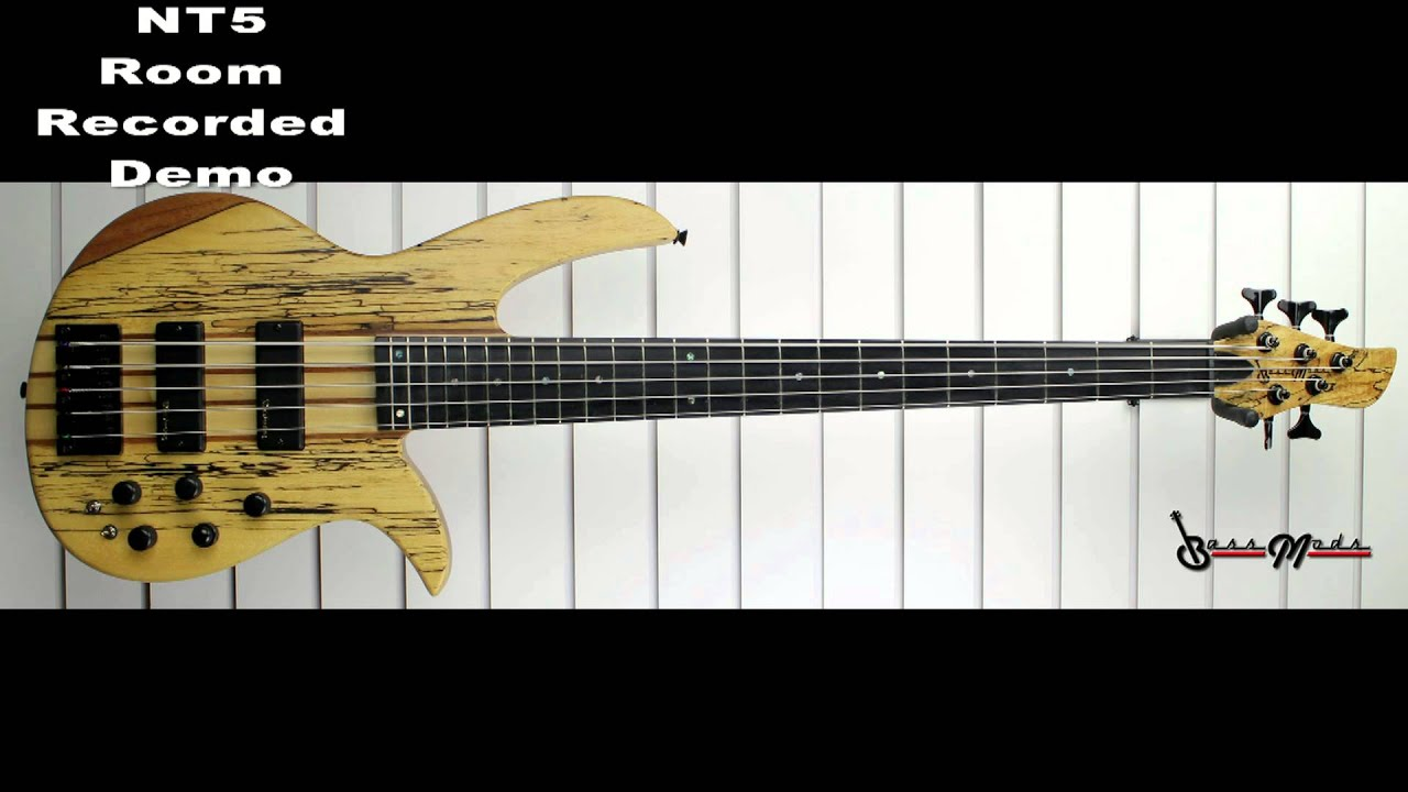 bass mods nt5 5 string neck thru bass spalted maple top 18v 3 band preamp youtube. Black Bedroom Furniture Sets. Home Design Ideas