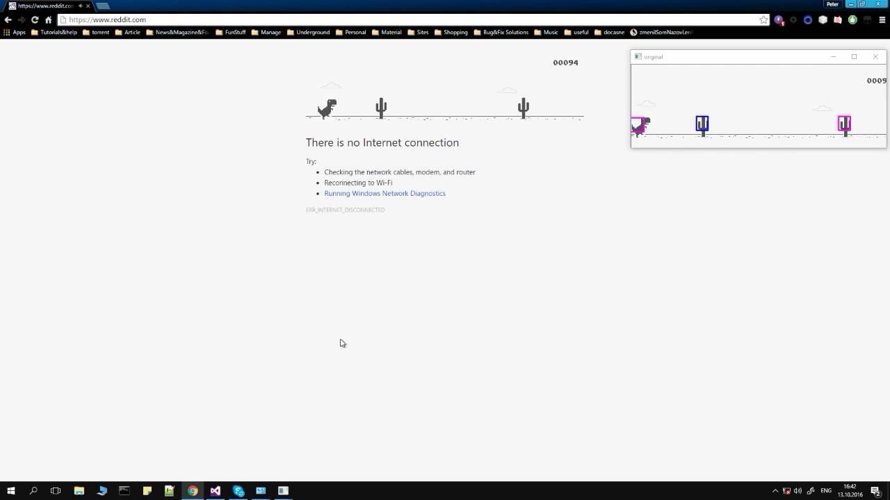 Bot playing the Google Chrome dino game using OpenCV & C++