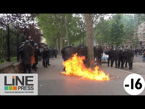 Manif Loi Travail. Violence extrême. Guérilla urbaine / Paris - France 14 juin 2016