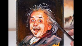 Portrait painting of Albert Einstein