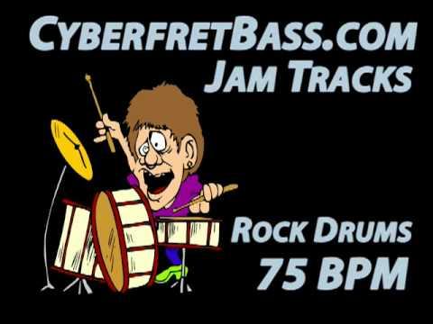 Rock Drums Jam Track  75 BPM  CyberfretBasscom