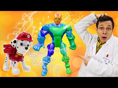 Игры в больницу и Доктор Ой. Видео про игрушки: Железный Человек меняет костюм?!