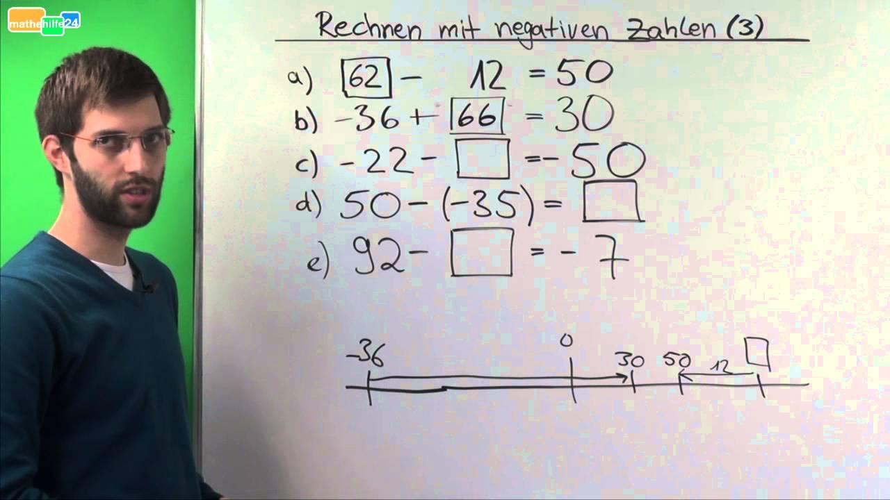 Rechnen mit negativen Zahlen (Ganze Zahlen) - Übung 3 - YouTube