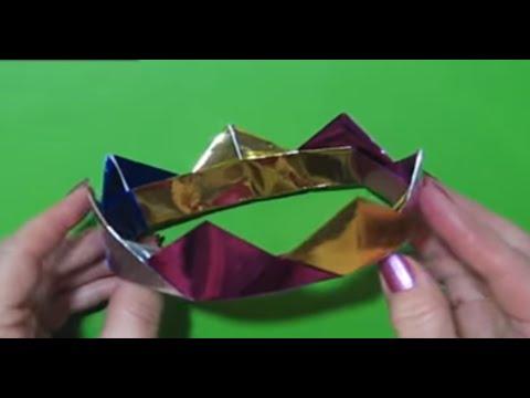 Новогоднее Украшение Декор  Корона Из Бумаги. 3D origami crown tutorial.