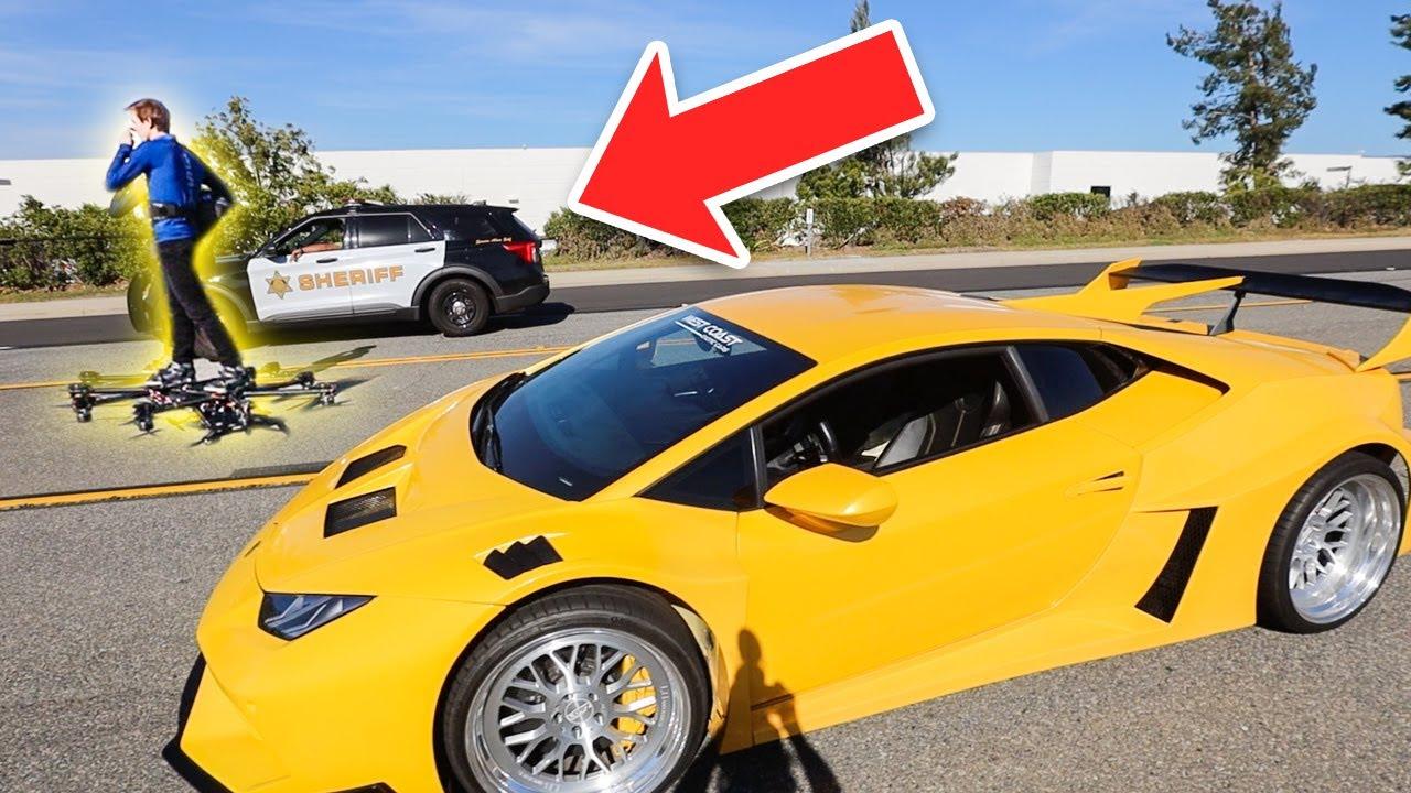 Lamborghini VS REAL Flying HoverCraft RACE! (Cops Called)