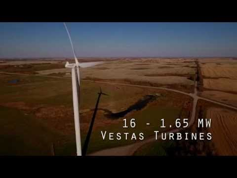 Drone footage of Red Lilly Wind Farm