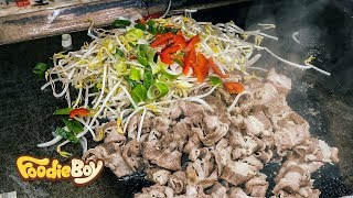 Grilled Beef Brisket and Yaki Udon / Korean Street Food / Kkangtong Night Market, Busan Korea