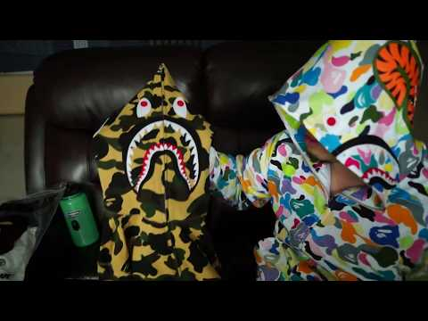 Bathing Ape BAPE 1st Camo Yellow and Multi Camo Shark Hoodie (alternate scene / out take / BTS)