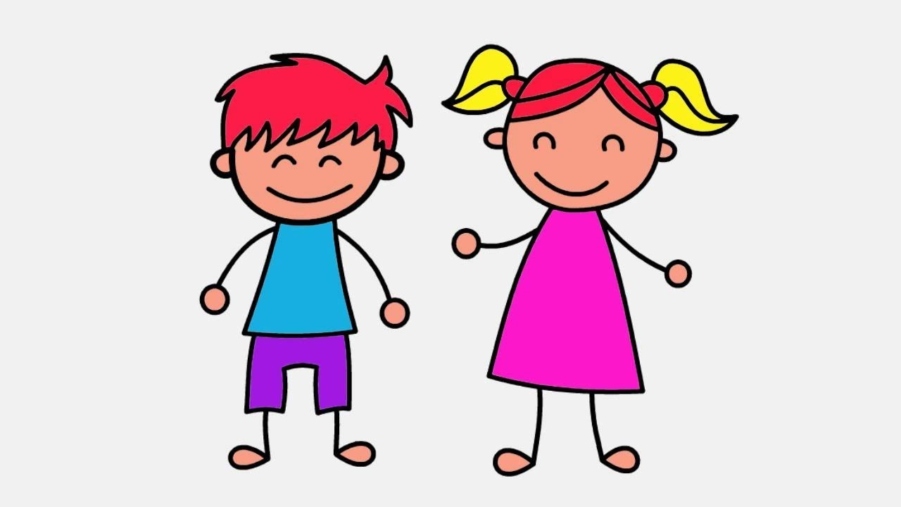 How to Draw Boy and Girl Coloring Page for Kids   Learn Art Color ...