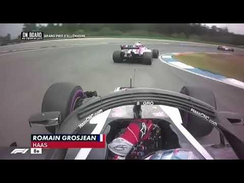 Romain Grosjean Onboard Vs Force India Germany 2018