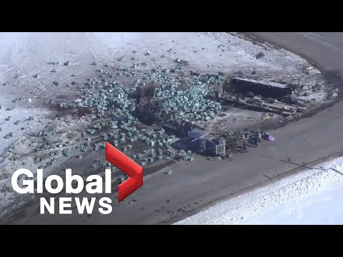 Aerial video shows destruction at scene of Humboldt Broncos bus crash