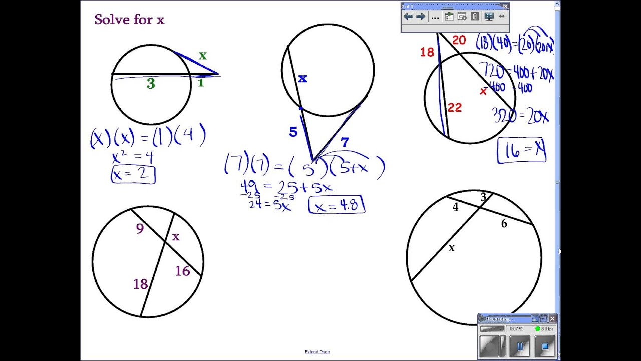 Geometry 10 6 Find Segment Lengths In Circles Youtube