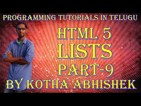 How To Use Lists In Html In Telugu