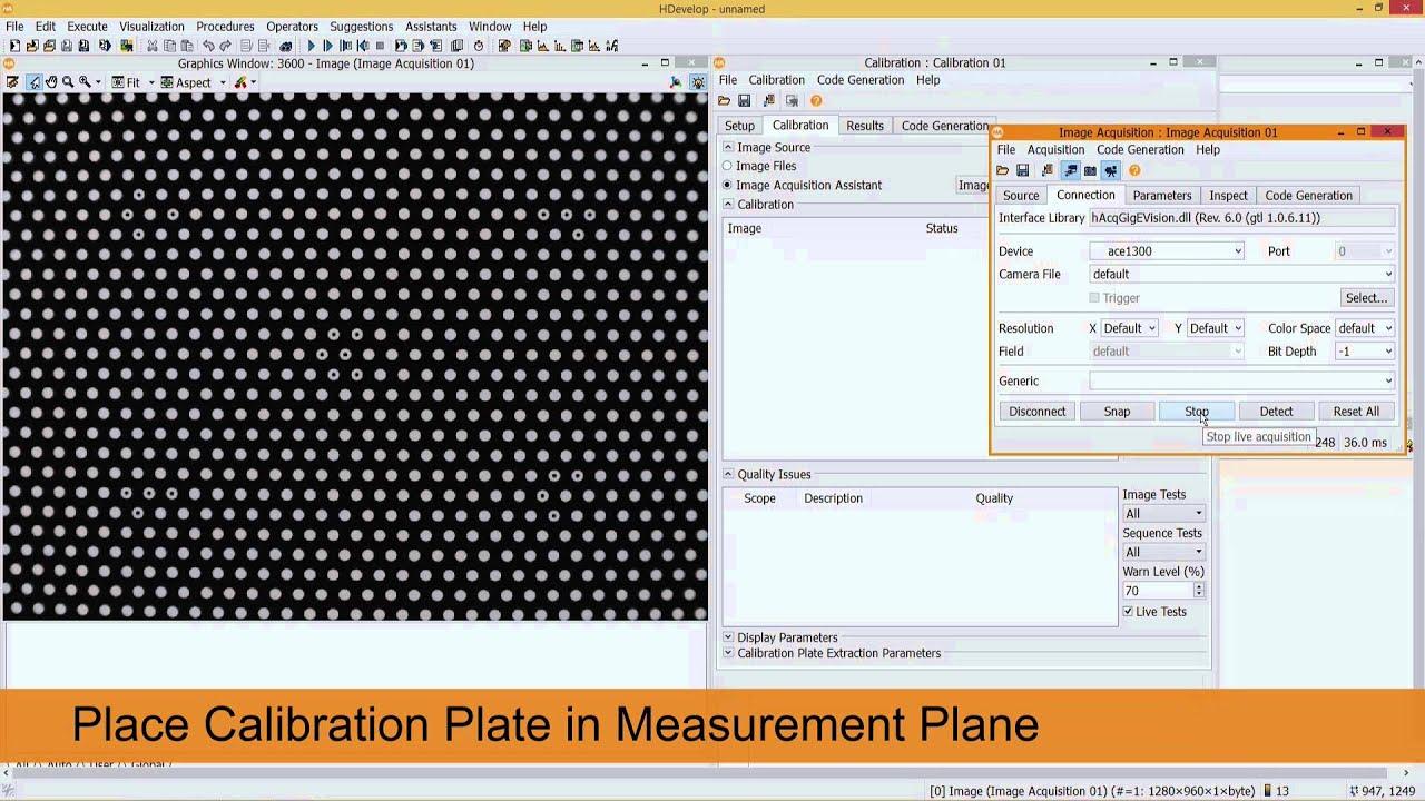 Camera calibration - using a HALCON calibration plate