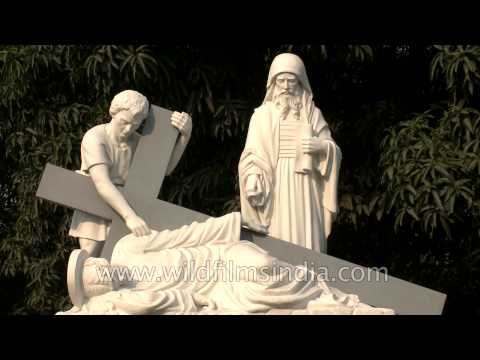 Immortal Christian sculptures at Basilica of Our Lady Of Graces