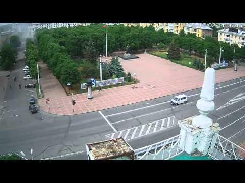 Луганск - авиаудар по зданию ОГА, web-камера 02.06.2014