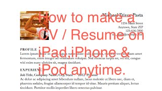 How to make CV on iPad
