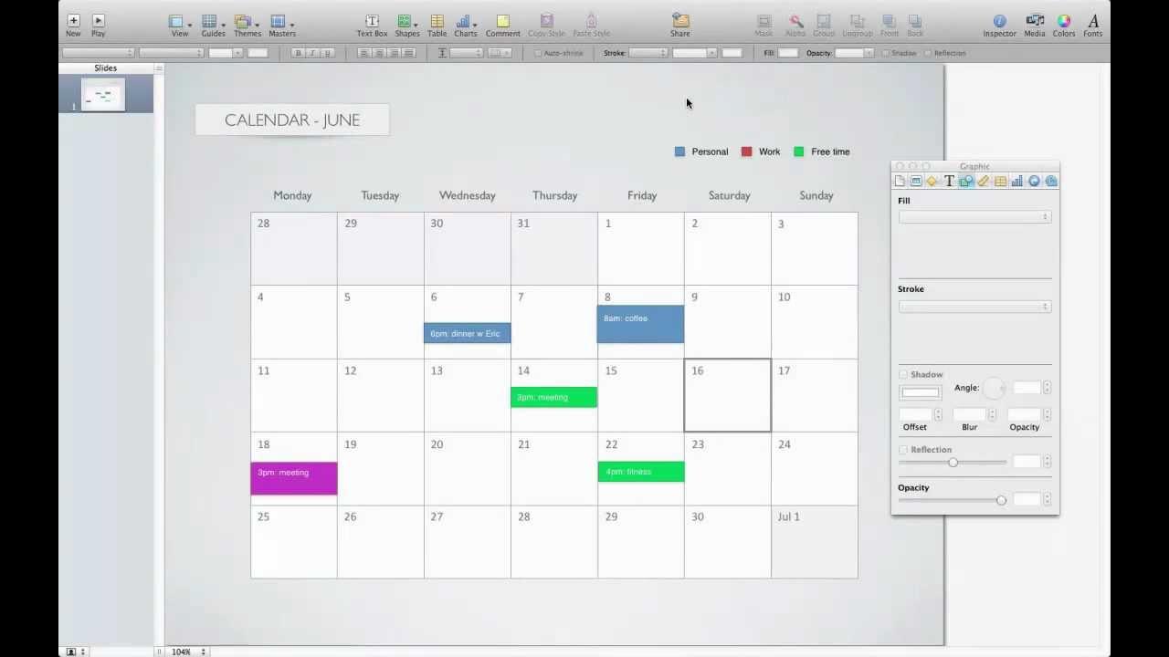 Calendar template for Keynote - YouTube