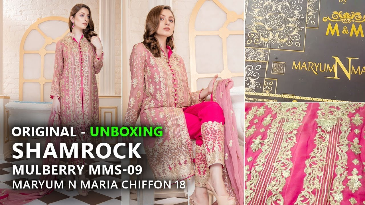 3f009061fa Maryum N Maria Luxury Chiffon Shamrock - Unboxing Mulberry MMS 09 -  Pakistani Branded Clothes