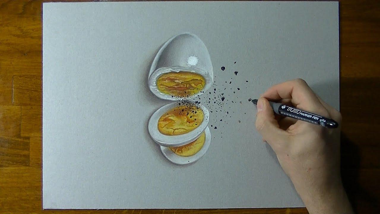 Disegno realistico in timelapse uovo sodo youtube for Disegno 3d free