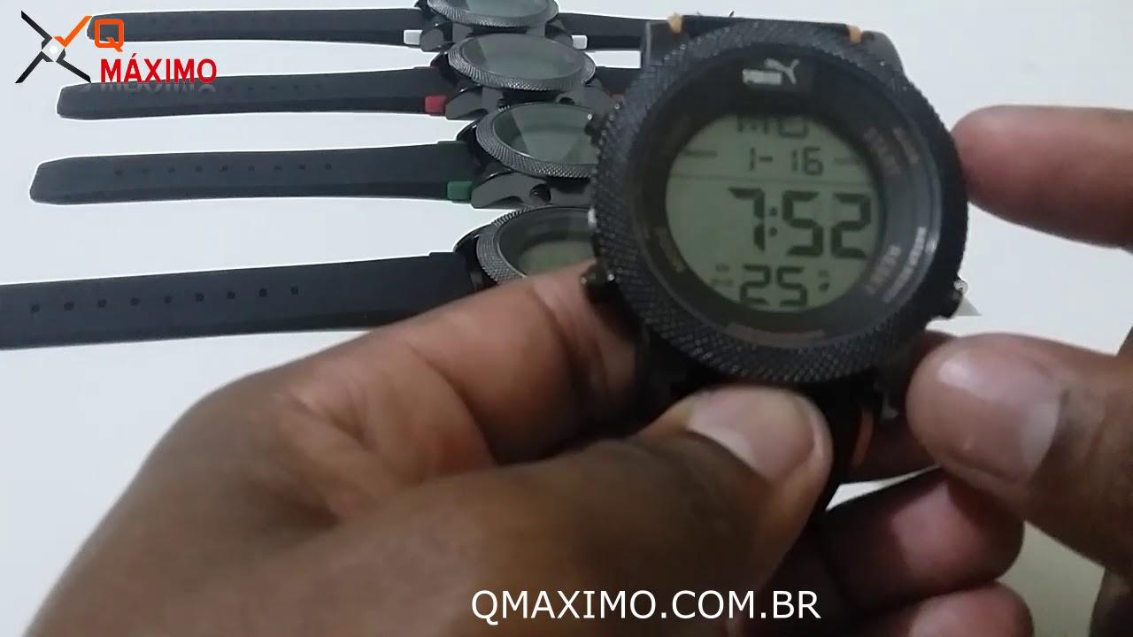 c05377c2aa7 Relogio Puma Digital Novo Lançamento ajustando horario e data passo a passo  - QMAXIMO