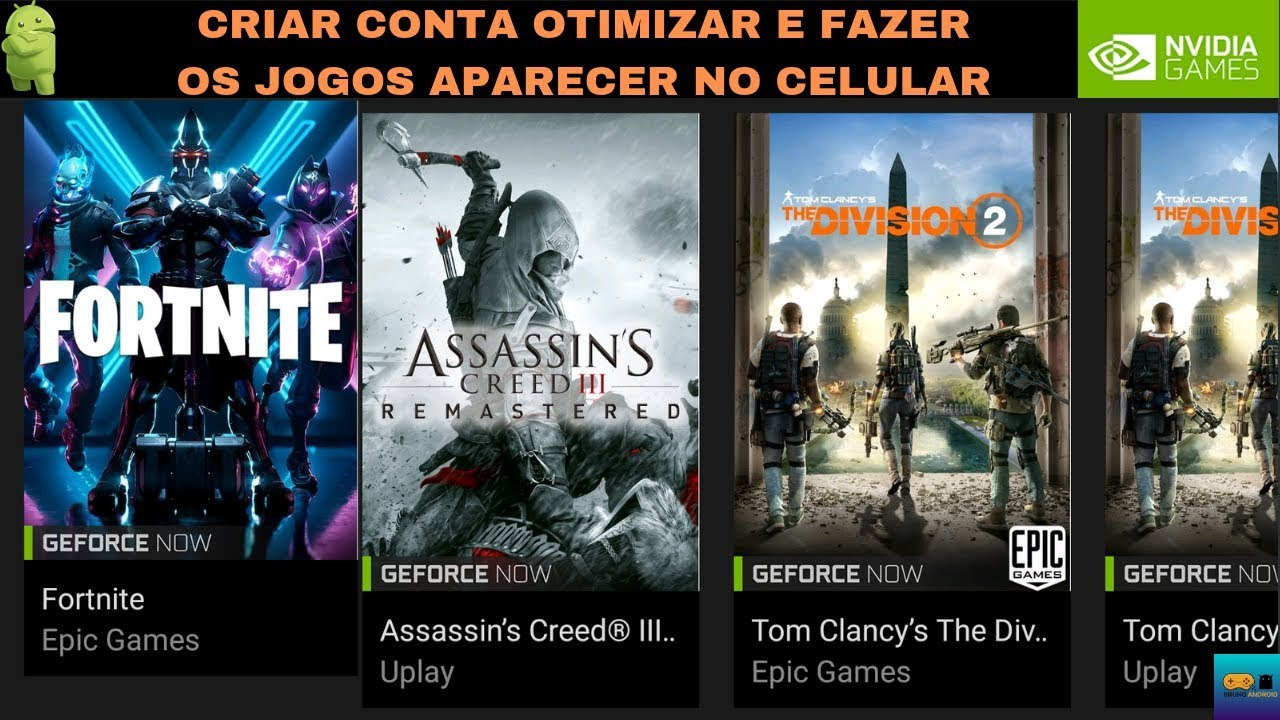 COMO CRIAR CONTA E FAZER OS JOGOS APARECER NO NVIDIA GAMES (ANDROID) GEFORCE NOW