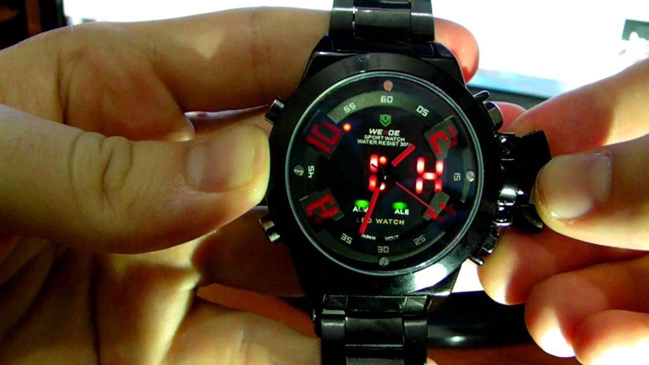 30m water resistant diving sports led watch red alarm. Black Bedroom Furniture Sets. Home Design Ideas