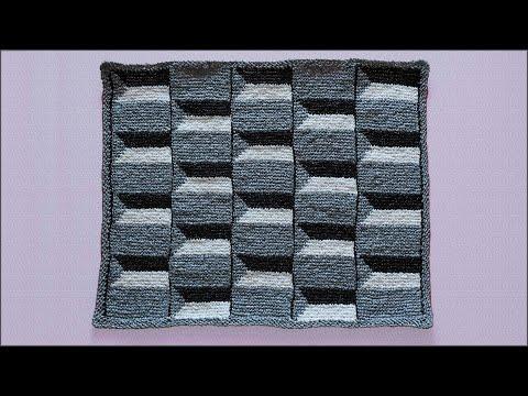 Коврик с 3D эффектом крючком. Тунисское вязание. Часть 1. Crochet 3D Rug. Part 1.