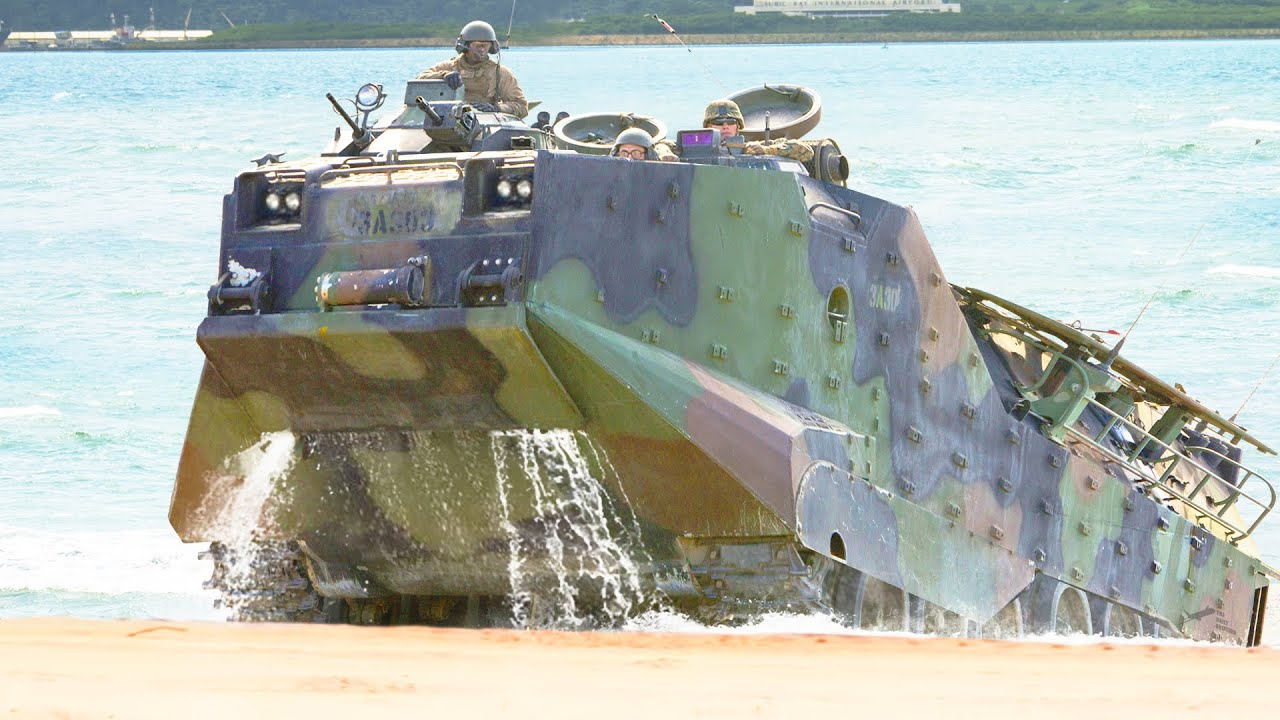 US Heavy Amphibious Vehicle in Action During Modern D-Day Training