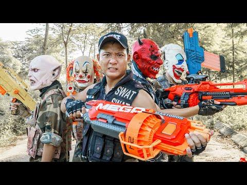 LTT Films : Warriors Black Man Nerf Guns Fight Criminal Group Tiger Mask Red Devil Thief