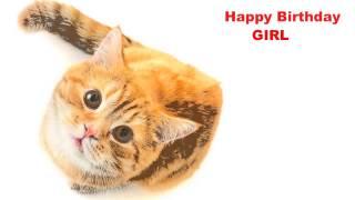 Girl  Cats Gatos - Happy Birthday