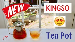 😍    KINGSO  Glass Teapot with Stainless Steel Filter  - Review   ✅