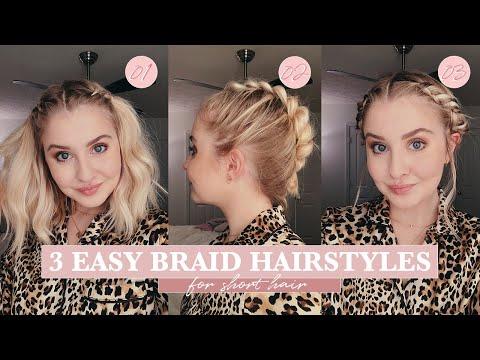 3 Easy Braid Hairstyles Short Hair Maddy Corbin Youtube