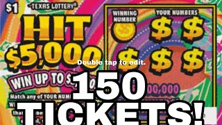 FULL PACK! 150X HIT $5,000 $150 Of Tickets!!!!Texas Lottery Scratch Off Tickets