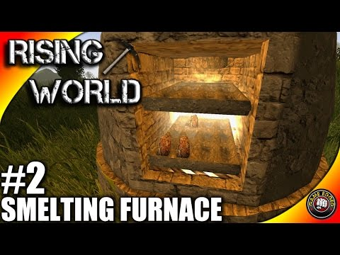 Rising World Let's Play EP02 - Smelting Furnace, Anvil - Rising World Gameplay S01EP02