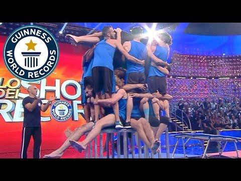 Trampoline team attempt amazing forward flip challenge  – Guinness World Records