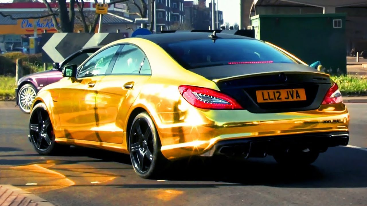 Chrome Gold Mercedes Cls63 Amg Revs And Sounds Youtube