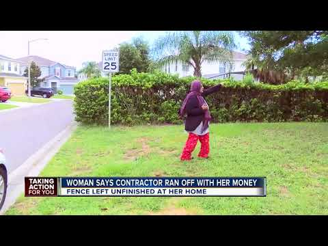 Contractor steals womans money, leave fence unfinished