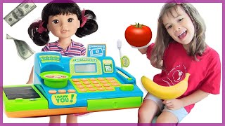 Pretend Play Suppermarket With American Doll Peanut's World Toys Cash Registers For Kids