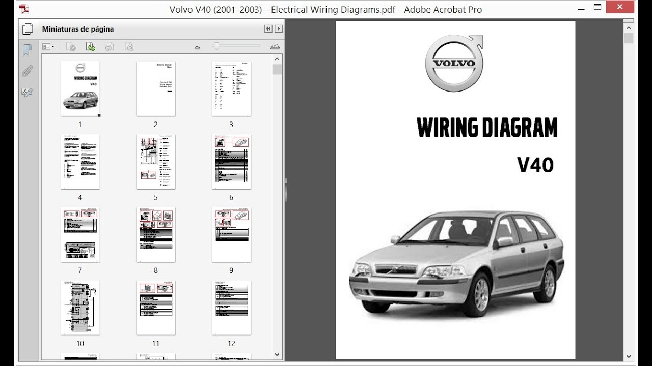 Volvo V40 (2001-2003) - Electrical Wiring Diagrams - YouTube | Volvo Wiring Diagrams V40 |  | YouTube