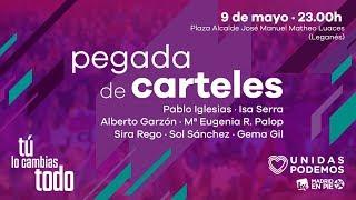 Pegada de carteles de las elecciones europeas y autonómicas de Madrid