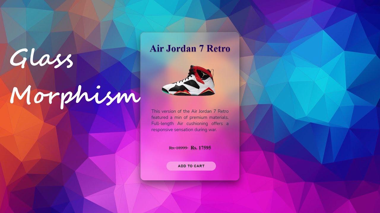 Product Card Using Glass Morphism  | Glassmorphism UI Design