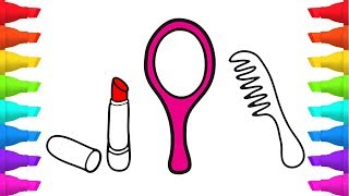 Makeup Tools Coloring Pages for Children   How to Draw Lipstick, Mirror and Comb for Kids